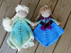 Set of Elsa and Anna lovey dolls from the snow queen fairy tale Frozen. Both measure 12 inches tall and 15 inches wide when blankets are open.
