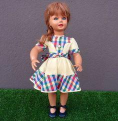 ANTICA bambola BONOMI alta cm 52 con testa orientabile capelli veri Doll Puppe