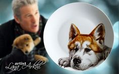 Hand painted porcelain: Hand painted plates by Lana Arkhi  One more dog po...