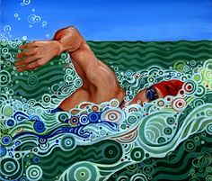 Barbara Drummond Keller - Painting my love of swimming Swimming Pictures, Water Pictures, Sea Turtle Painting, Underwater Art, Dot Art Painting, Swim Team, Impressionism Art, Diy Canvas Art, Kids Swimming