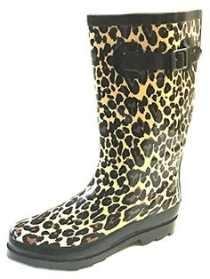 Shoes 18 Womens Classic Rain Boot With Buckle Prints  Solids 910 Leopard 5000 >>> Click on the image for additional details.