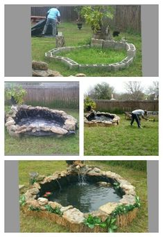 DIY Water Garden Ideas: Container and Pond Water Garden DIY water garden ideas: # 54 Pond Garden Ideas and Design Inspiration – Diy Craft Ideas & Gardening Ponds Backyard, Backyard Landscaping, Koi Ponds, Outdoor Fish Ponds, Garden Ponds, Modern Backyard, Tropical Landscaping, Diy Pond, Pond Fountains