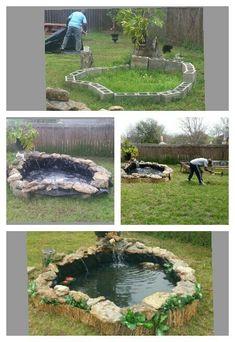 Koi Pond. Follow the Steps to building an above ground Koi Pond. #Pond #PondLiner http://www.pondpro2000.com/  Schritt für Schritt Anleitung für einen Koi Teich
