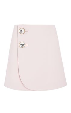 This Marni mini skirt is rendered in wool and features a high rise, a wraparound design with oversized jewel embellishments at the front, and a mini length a-line silhouette. - Preorder now on Moda Operandi