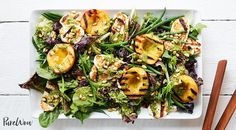 Grilled Peach and Halloumi Salad with Lemon-Pesto Dressing