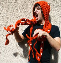 CROCHET PATTERN PDF - Kraken Of The Sea Scoofie - Mythological Creature Hooded Scarf Couture  hättest du lust auf das? weil....woah o.o