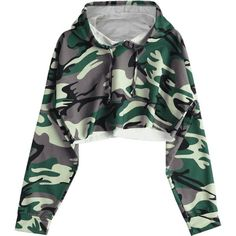 Camo Cropped Hoodie Camouflage S ($18) ❤ liked on Polyvore featuring tops, hoodies, hooded sweatshirt, camo crop top, camouflage crop tops, green crop top and cropped hooded sweatshirt