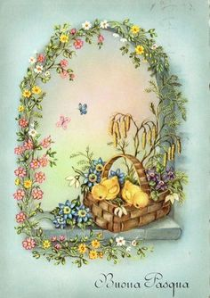 Vintage postcard of chicks on an Easter basket and flowers