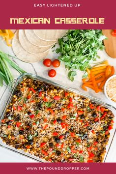 This EasyLightened Up Mexican Casserole haslayers of corn tortillas, black beans, corn, enchilada sauce, salsa, and then lightened up usingLaura's 96% Lean Ground Beef-this Mexican Casserole is guaranteed to become a new family favorite!! via @pounddropper Entree Recipes, Ww Recipes, Low Calorie Recipes, Dinner Recipes, Healthy Recipes, Weight Watchers Lunches, Weight Watchers Meal Plans, Weight Watcher Dinners, Mexican Entrees
