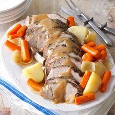 Sunday Pot Roast - flour - dried oregano - onion salt - caraway seeds - garlic salt - l lb. boneless pork loin roast - carrots - 3 large potatoes - 3 small onions - beef broth
