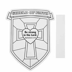 "****Shield craft for the younger kids. Color Your Own ""Shield Of Faith"" Cutouts - Oriental - Put on cardboard for sturdiness and use jewels, etc. Add shoulder straps to make it a wearable Faith Crafts, Bible Crafts, Vbs Crafts, Church Crafts, Preschool Crafts, Daycare Crafts, Bible Verse Coloring Page, Coloring Pages, Colouring Sheets"