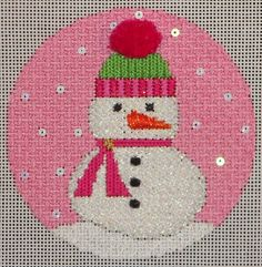 Don Lynch ....The background stitch is Lazy Roman using 1ply Impressions.  The snowman is stitched in woven stitch with Kreinik #12 braid, color 032