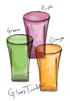 glass Tumbler グラスタンブラー グリーン・オレンジ・パープル