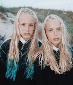 Blue dipped hair.