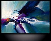 "Large abstract painting by Dan Bunea: ""Summer storm"", 80x120cm"