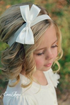 White Hair Bow Ivory Hair Bow Clip Children's Hair Bow by EvaJune, $14.00. Would be cute for flower girls.