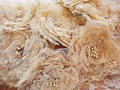 lace material  bouquets | Rag Rescue: Craft ideas for using vintage fabric and lace. No. 2 these are nice not so rustic looking with the open weave natural burlap and lace don't you think?