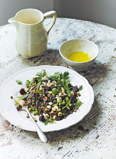 Amelia Freer's healthy lentil salad recipe is made with beetroot, onion, hazelnuts, fresh mint and parsley, served with a zingy ginger dressing.
