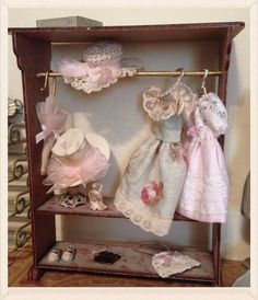 1/12 wooden rack cabinet with all accessories miniature dolls house hand made shabby chic style