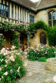 Great Chalfield Manor near Melksham in Wiltshire. ~ Charming Arts and Crafts Garden, National Trust, well worth a visit. Casas Tudor, Beautiful Homes, Beautiful Places, England, Garden Cottage, Rose Cottage, English Countryside, English Country Manor, English Manor Houses