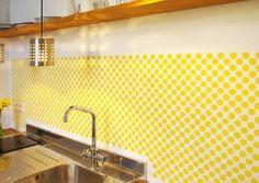 Stencil Backsplash Cheap Kitchen Backsplash, Paint Backsplash, Kitchen Tiles, Kitchen Decor, Kitchen Bars, Decorating Kitchen, Backsplash Ideas, Diy Outdoor Kitchen, Stenciled Floor