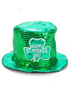 14f38630d43 Irish Costume Hat Green St Patricks Sequin Top Hat This fine sequined top  hat is the first of four St Patricks Day hats offered by Private Island  Party.