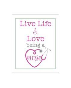 Vivir la vida & amor ser enfermero. 8 x 10 imprimir    Para quien es enfermera y le encanta!    * perfecto para un estudiante y compañeros de
