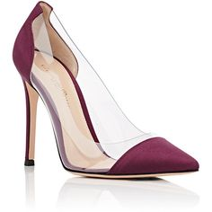 Gianvito Rossi Women's Plexi Satin & PVC Pumps ($795) ❤ liked on Polyvore featuring shoes, pumps, slip on pumps, pointed toe high heel pumps, satin pumps, slip on shoes and gianvito rossi shoes