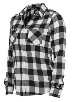 Urban Classics Ladies Hemd Checked Flanell Shirt schwarz weiss - 77onlineshop