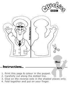 Black and white print out of Postman Pat Finger Puppet Community Workers, Community Helpers, Early Learning Activities, Preschool Lessons, Preschool Printables, Preschool Crafts, Preschool Ideas, Postman Pat, People Who Help Us