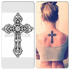 tatouage de femme tatouage croix noir et gris sur dos. Black Bedroom Furniture Sets. Home Design Ideas