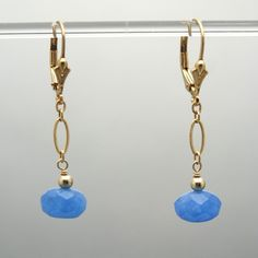 Singleness of Purpose Sodalite Gold Filled Earrings (Faceted Sodalite beads, 14k Gold Filled chain, wire wrap, beads, and lever backs)