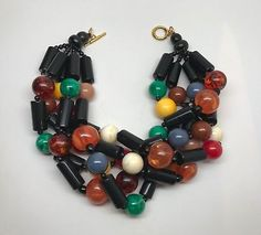 Necklace-in-The-Style-Of-Angela-Caputi-Multi-Strand-amp-Multi-Color-Beads