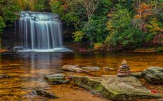 Download wallpapers waterfall, lake, forest, autumn, stones, autumn landscape