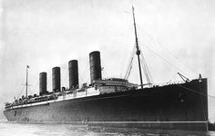 """Photo: RMS Lusitania. Credit: George Grantham Bain; Library of Congress, Prints and Photographs Division. Read more on the GenealogyBank blog: """"Survival Stories from the Lusitania Disaster."""" https://blog.genealogybank.com/survival-stories-from-the-lusitania-disaster.html"""