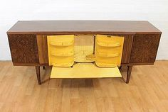 SO COOL!! Mid Century Burl Effect  Hidden Drinks Cabinet/Bar by Beautility.