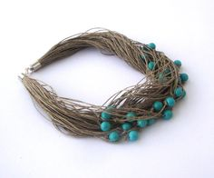 Statement linen necklace, turquoise howlite necklace, eco style beaded necklace, multistrand necklace. $45.00, via Etsy.