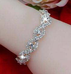 Wedding Bridal Rhinestone Bangle Austrian Crystal