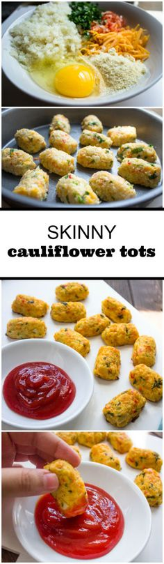 Skinny Baked Cauliflower Tots.  What a fun and healthy recipe idea! Perfect for a dinner side with dipping sauce.