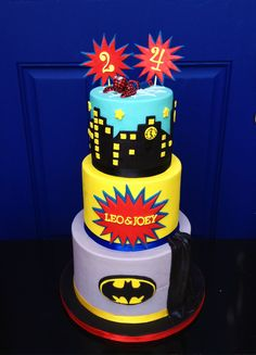 "Superhero ""Double Birthday"" Cake"