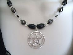 Sterling Silver Pentacle Necklace, wiccan jewelry pagan jewelry pentagram witch witchcraft metaphysical new age goth gypsy magic mystic via Etsy