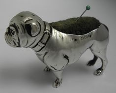 SUPERB LARGE ULTRA RARE ANTIQUE B1905 SOLID SILVER NOVELTY BULLDOG PIN CUSHION #ADIELOVEKINlTD
