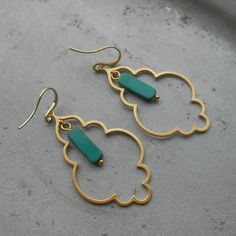 Arabian Collection - Amina - beautiful gold plated Arabic earrings with real Moroccan turquoise