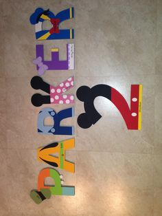 I made Parker's name with each letter representing a different character from Mickey Mouse Clubhouse! They will be perfect for his Mickey themed birthday party :)