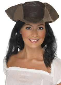 Women's Brown Leather Look Pirate Hat & Hair Fun Fancy Dress Hen Film Theme Pirate Costume Accessories, Fancy Dress Accessories, Group Fancy Dress, Pirate Fancy Dress, Female Pirate Costume, Pirate Costumes, Thing 1, Steampunk Costume, Fancy Party