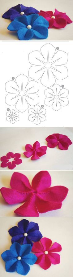 DIY Easy Felt Flower...Cutting is the hardest part to making this pretty little flower...A small decorative button also looks nice in the center.                                                                                                                                                                                 More