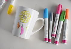 Personalization, now for your coffee mug! You can create this DIY kitchenwear piece using cheap dollar store mugs and neon Sharpies. What I love about these is thatyou don't have to be good at drawing — I'll show you how to use tracing paper to create any graphic you desire! These look so chic in …