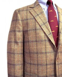 Southwick Lambswool Sport Coat - Barley Olive with Multicolor windowpane