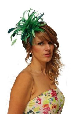 Emerald Green & Teal Satin Feather Fascinator Hat