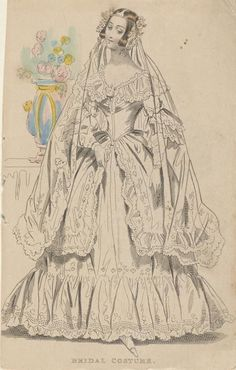 Bridal Dress, (artist unknown) Hand-coloured etching Accession Number National Gallery of Victoria, Melbourne 1800s Fashion, 19th Century Fashion, Vintage Fashion, Queen Victoria Wedding Dress, Fashion Illustration Sketches, Girls Be Like, Fashion Plates, Bridal Dresses, Wedding Gowns